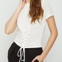 Ivory Hacci Knit Corset Tee