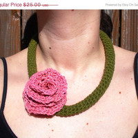 CHRISTMAS SALE Olive Green Cotton Crochet Necklace with Large Pink Hemp Rose, ready to ship.