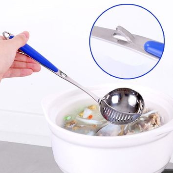High quality 2 in 1 Long Handle Stainless Steel Spoon Soup with Filter Tableware Flatware Cooking Tools Kitchen Accessories