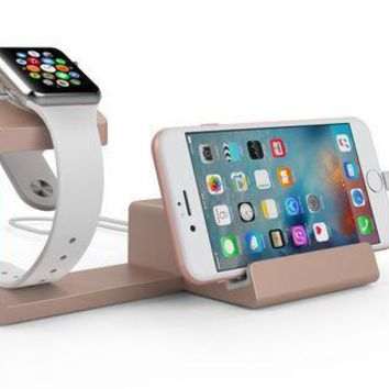 ICIK4S2 Dual 2-in-1 Charging Stand & Dock for Apple Watch and Apple iPhone (Rose Gold)
