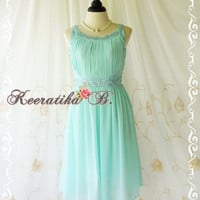 Gorgeous Mint Blue Party Dress Pleated Top Crystal Beads Embroidered Egyptian Cleopatra Inspired Prom Dress Wedding Bridesmaid Dress