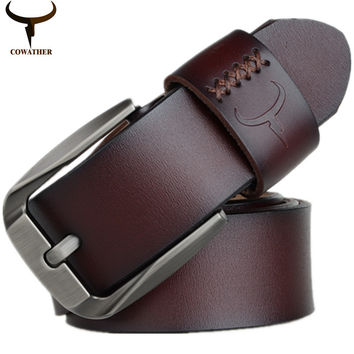 COWATHER Vintage style pin buckle cow genuine leather belts for men 130cm high quality mens belt cinturones hombre