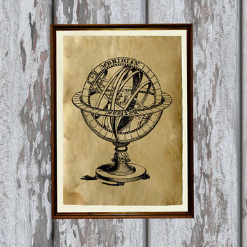Armillary sphere print Antiqued decoration Old paper 8.3 x 11.7 inches