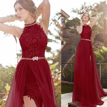Hot Sale Halter Lace Sexy High Slit Open Back Beach Long Train Burgundy Evening Dresses Party Prom Special Occasion Dresses