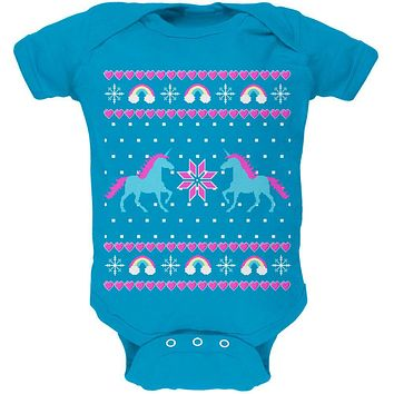 Unicorn Rainbow Ugly Christmas Sweater Soft Baby One Piece