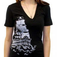 ShanaLogic.com - 100% Handmade & Independent Design! Ghost Ship V-neck Tee - Apparel - Girls