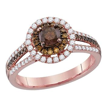 14kt Rose Gold Women's Round Brown Diamond Solitaire Halo Bridal Wedding Engagement Ring 1.00 Cttw - FREE Shipping (USA/CAN)