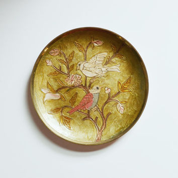 Vintage Enameled Brass Plate Decorative Cloisonne Plate with Birds and Flowers Chinoiserie Wall Decor