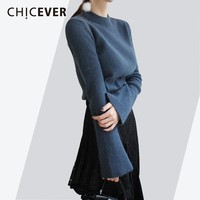 CHICEVER Knitted Pullovers Female Sweater For Women Top Flare Sleeve O neck Autumn Slim Sweaters Tops Clothes Fashion Korean