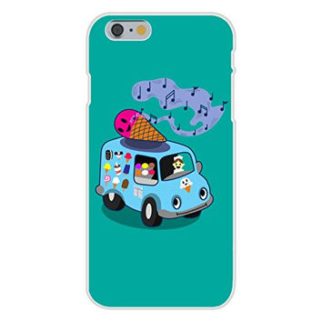 Apple iPhone 6 Custom Case White Plastic Snap On - 'Ice Cream Truck' Funny Ice Cream Cone Singing