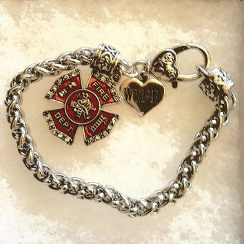 Firefighter Red Crystal Maltese Cross Charm and Small Wife Heart Bracelet