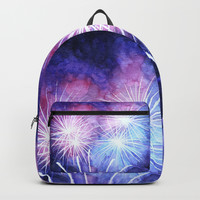 Blue and pink fireworks Backpack by savousepate