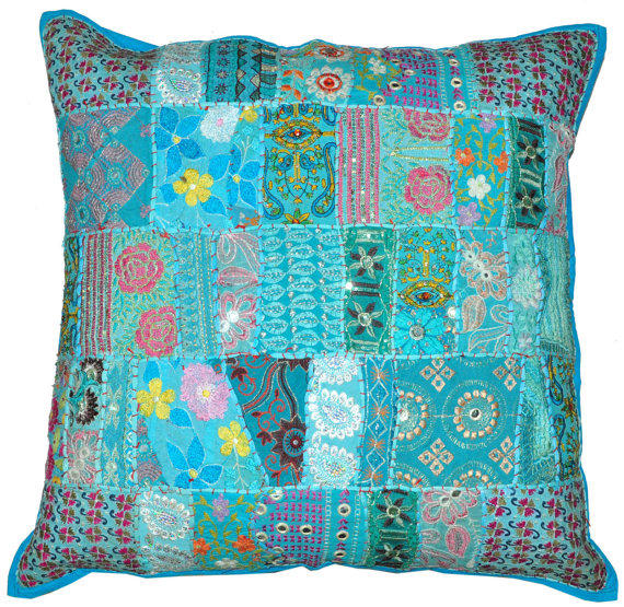 Large Blue Decorative Pillows : 24x24