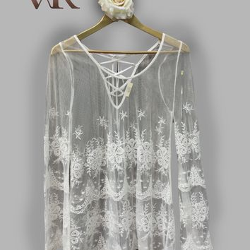 Cream Lace Tunic Top with Laced up Front Tie (Small)