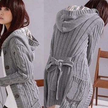 Fashion Loose Thicken Knitting Sweater With Hood Long Sleeve Cardigans trench Coat + 1 belt 2 colors