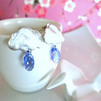 Silver rainy cloud periwinkle blue Swarovski crystal earrings, rainy day cloud earrings