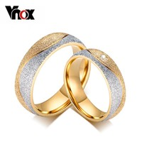 Vnox couple engagement ring for women men sand blasted gold-color stainless steel CZ wedding rings jewelry