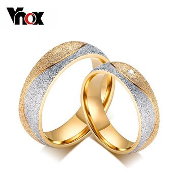 Vnox Couple Engagement ring For Women /Men Sand Blasted Gold-Color Stainless Steel CZ Wedding Rings Jewelry