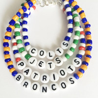 NFL Team Name Bead Bracelet (team colors/team name)