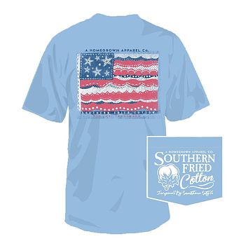 Woven by the Sea Tee in Faded Jeans by Southern Fried Cotton