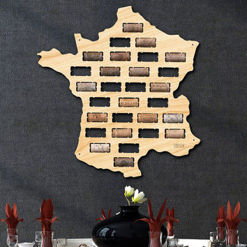SALE! France Wine Cork Map - Wine Decor and Gifts, Art, Wine Cork Holder, Christmas Gifts for Her, Him, & Couples