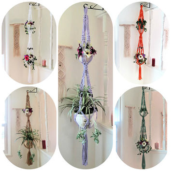 Double macrame plant holder with beads, vintage plant hanger, 2 tier big hanging planter, large boho macrame planter, modern 70s hippie gift