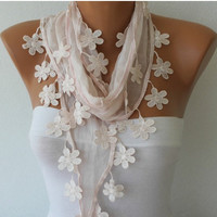 Cotton Scarf  - Shawl -  Cowl with  Lace Edge - Light Pink - fatwoman