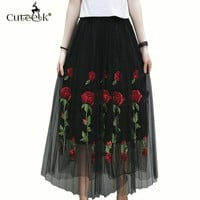 2017 Vintage Tulle Skirt Summer Pleated Skirts Floral Embroidery Mesh Tutu Skirt High Waist Fold Slim Women Midi Skirt Black