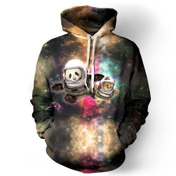 Panda And Cat Astronaut Celestial Space Stars Galaxy Cosmic Hoodie Sweater