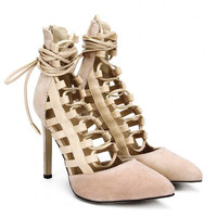 Apricot Lace-up High Heels