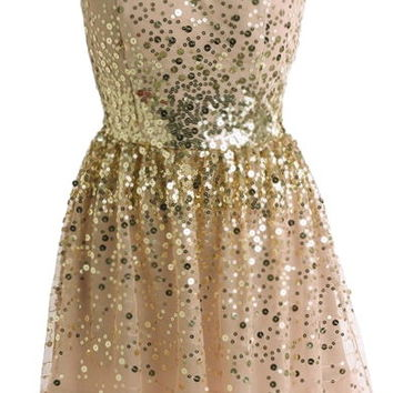 Great Gatsby Dress | Beige Taupe Gold Sequin Mesh Skater Dress | RicketyRack.com