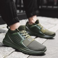 Bjakin New Arrival Men Running Shoes Breathable Mesh Sneakers Male Sports Shoes Training Running Shoes Trainer Green Big Size 48
