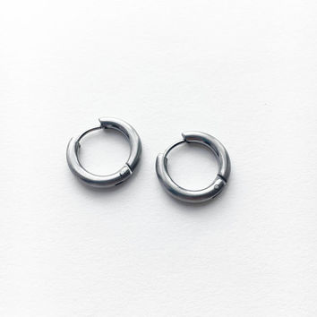 Small Hoop Earrings • Steel Hoop Earrings • Hoop Earrings • Men Hoop Earring • Silver Hoops • Silver Earrings • Steel Hoop Earring