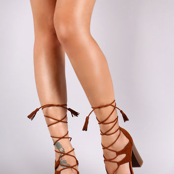 Bamboo Suede Tassel Lace Up Chunky Heel