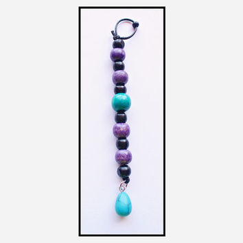 Purple and Turquoise Dreadlock Jewellery Decoration with Wooden Beads and a Turquoise Stone Hand Made Rasta Jewelry Beads