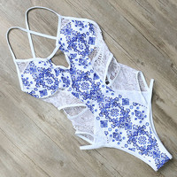 Barbara Lace Cut-Out One-Piece