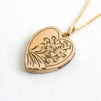 Vintage Gold Filled Flower Heart Locket Necklace- 1940s WWII Era Sweetheart Floral Etched Pendant Jewelry
