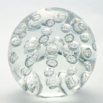 5.5 inch Clear White Ball Paperweight