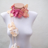 Handmade crochet Lariat Scarf Pink Peachy Flower Lariat Scarf Colorful Variegated Long Necklace Winter Fashion