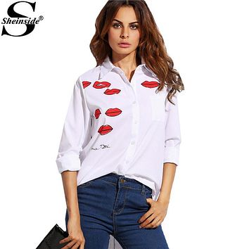 Sheinside White Lip Print With Pocket Lapel Long Sleeve Buttons Front Shirt Office Ladies Work Wear Blouse