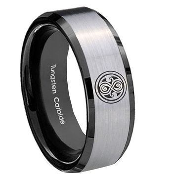 10mm Doctor Who Beveled Edges Brushed Silver Black Tungsten Wedding Bands Ring