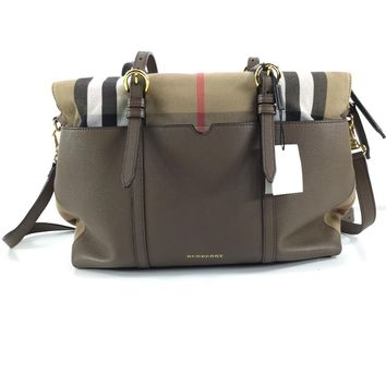 940C Burberry Taupe Grey Classic Check & Leather Diaper Bag