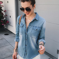 Chambray Button Front Shirt-FINAL SALE