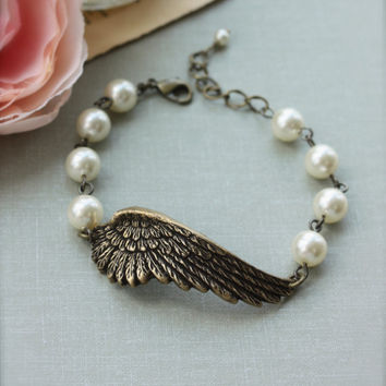 Wings of Love.  An Oxidized Brass Large Angel Wing Bracelet. Bridesmaids Bracelet. Gifts for Sisters. Angelique. For Mom.