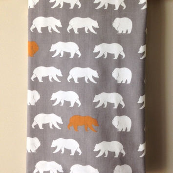 "ORGANIC Cotton/Fleece ~ 28""x34"" ~ Nursery Decor, Photography Prop, Baby Blanket ~ Feather River ~ Bear/Nature/Natural/Gender Neutral"