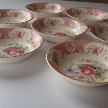 4 Dessert Bowls / Shabby Pink Rose by Myott Staffordshire England/ Vintage Shabby Chic Cottage Dishes by Feisty Farmers Wife