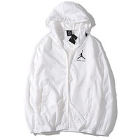 JORDAN Summer Men Women Casual Print Hoodie Zipper Jacket Coat Sun-Protective Couple Windbreaker White