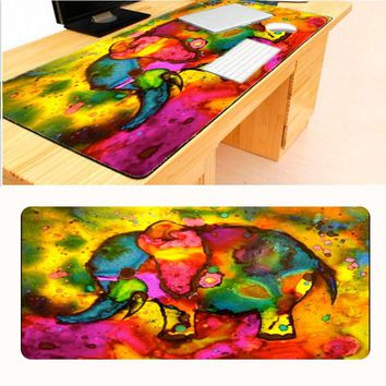 Mairuige Watercolor Elephants  Print Locking Edge Texture MousePads Computer Gaming Mouse Pad Gamer Play Mats XL 900*400mm