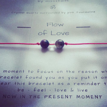 Flow of Love - Yoga | Gemstone | Healing | Bracelet | Mindfulnessbracelet | Clear Quartz | Pink Tourmaline
