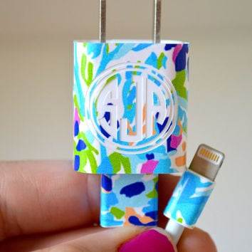 Lilly Pulitzer Vinyl Monogram iPhone Charger Wrap Decal
